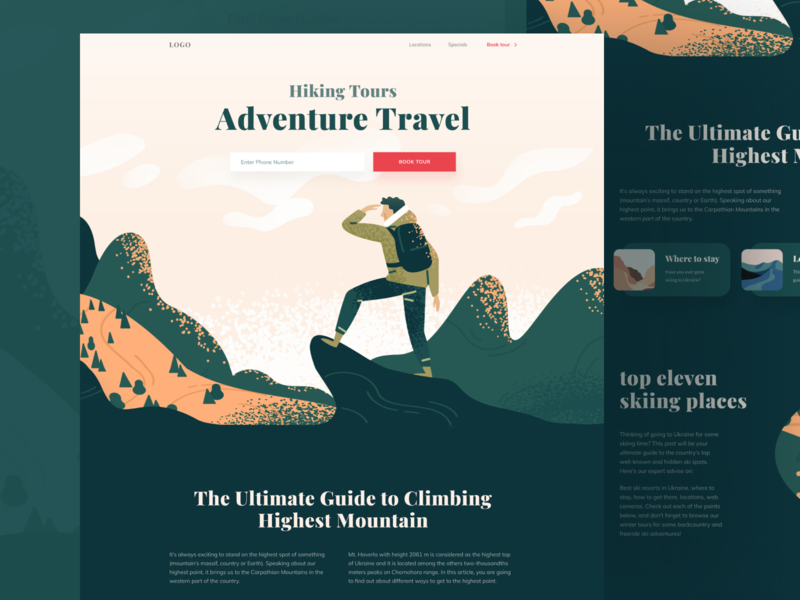 Hiking Tours character vector header web design illustration ui illustraion user interface design ui design
