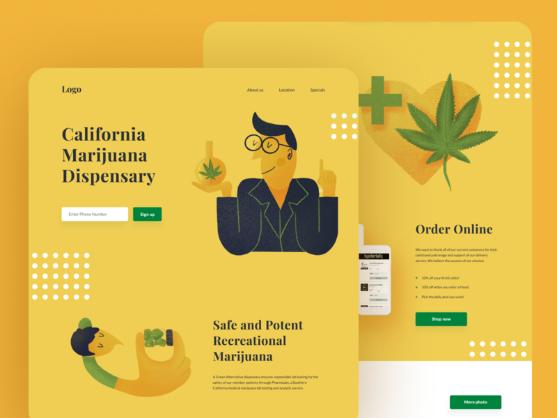 Cannabis store illustration landing header web design ui illustraion user interface design ui design marijuana cannabis