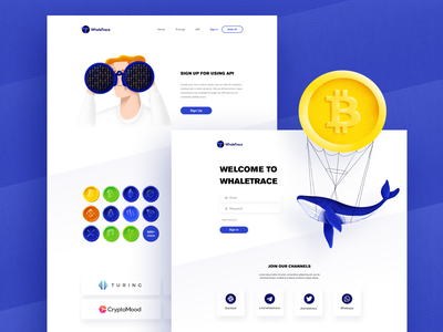 WhaleTrace website character clean landing web design user interface design ui design crypto exchange crypto currency cryptocurrency blockchain bitcoin crypto