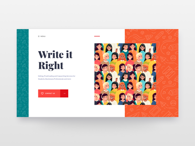 Write it Right website header vector character clean web design illustraion ui user interface design ui design header copywriting copywriter