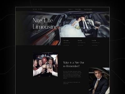 Nite Lite Limousine design landing header web design ui design clean luxury car limo limousine
