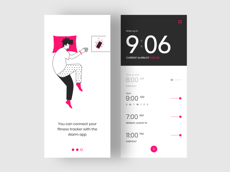Alarm App ui design ui application user interface illustraion mobile ui mobile app clock alarm