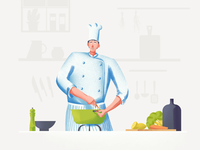 Chef illustration and animation for a restaurant website