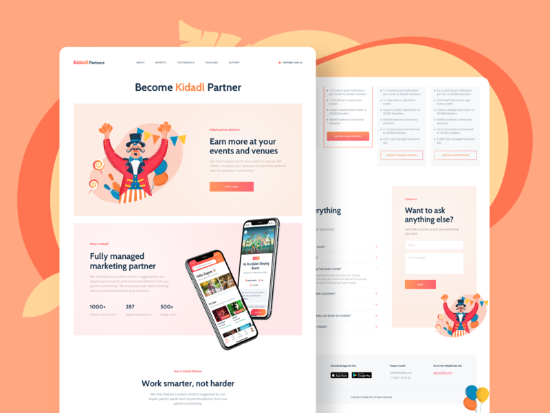 Kidadl app landing page design colorful clean character banner flat website illustraion landing mobile app