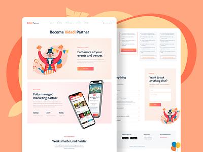 Kidadl app landing page design colorful clean character banner flat website illustraion landing mobile app