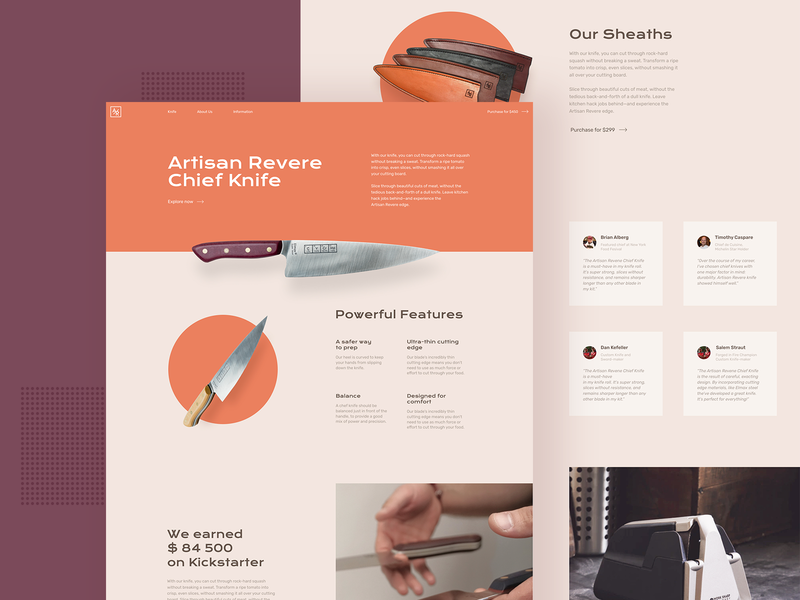 Knifes Landing Page Design flat daily kickstarter corporate clean landing page ui design user interface knife landing