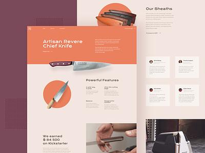 Knifes Landing Page Design flat daily kickstarter corporate clean landing page ui design user interface knife landing