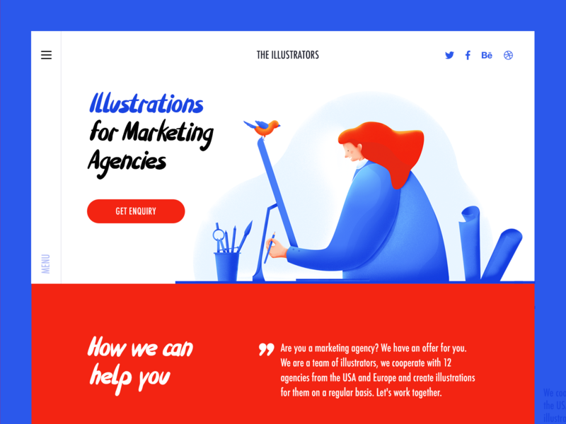 The Illustrators landing page design vector webdesign debut ui design header landing illustraion flat colorful clean character banner