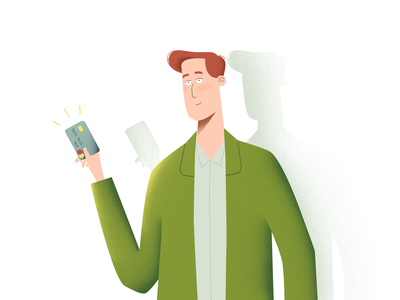 A guy with a credit card character design vector illustraion credit card illustration character