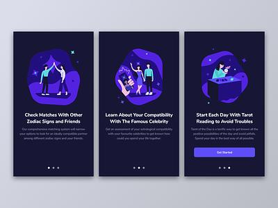 Onboarding screens for Horoscope app mobile ux user interface design illustraion ui design