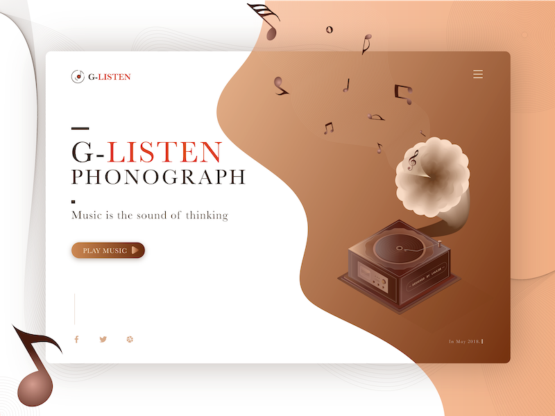 Classical Phonograph. listen record machine delicate classical brown player music web design