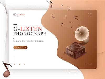 Classical Phonograph. 应用程序设计 应用程序 用户界面 空间 listen record machine delicate classical brown player music web design