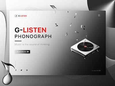 Modern phonograph 设计 应用程序设计 应用程序 用户界面 web design recording machine player music listening delicate modern grayscale