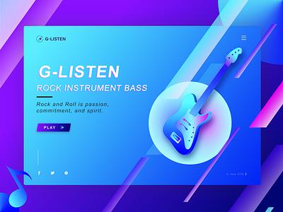 Rock instrument BASS 插图 用户界面 应用程序 应用程序设计 web design player music listening delicate bass rock