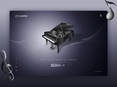 The piano 网页设计 应用程序 用户界面 web design,musical instruments player music listening deep melancholy piano