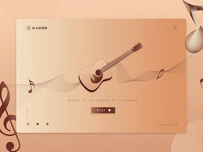 The guitar art player the guitar ui illustration web design listening brand music