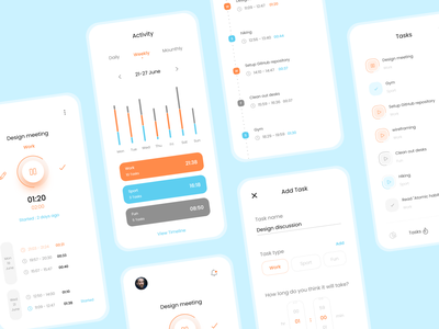 Time tracking app uidesign ux timetracker cleanui clean minimal tasks timeline time uiux ui
