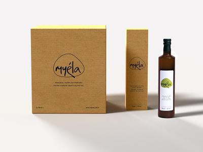 Myéla Olive Oil Package and Label Design graphic design print design label design package design