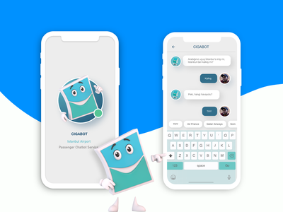 CIGABOT - Chatbot Service for Istanbul Airport Passengers flight app travel experiencedesign chatbot services passenger customer support airport chatapp chatbot mascot character 2020trends