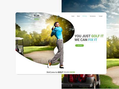 Golf Tourism Web UI design travel advice 2019trends landing slider uidesign uxdesign tour tourism golfer golf club sport ui golf