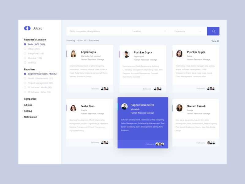 Job Dashboard branding ux illustration design account job board notification settings companies location search job color ui
