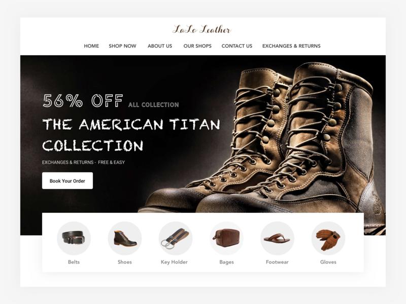 Website UI footwear belts gloves bags shoes search desing ux color ui