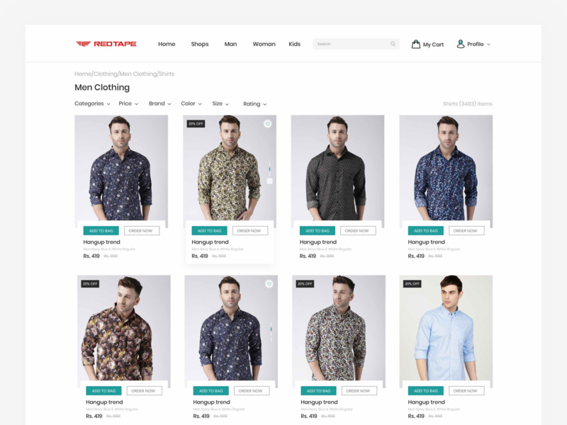 Product List Page woman man kids cart product rating size filter profile page account desing search colors website ecommerce userexperiencedesign ux ui design ui