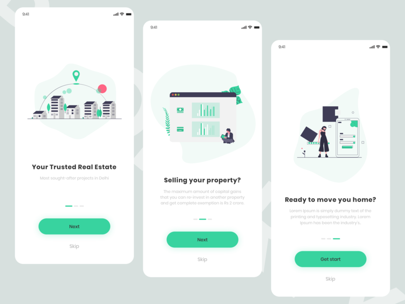 Property App Onboarding Screen retail app design screen sell buy rental app property rent card app account application colors search color desing ux ui