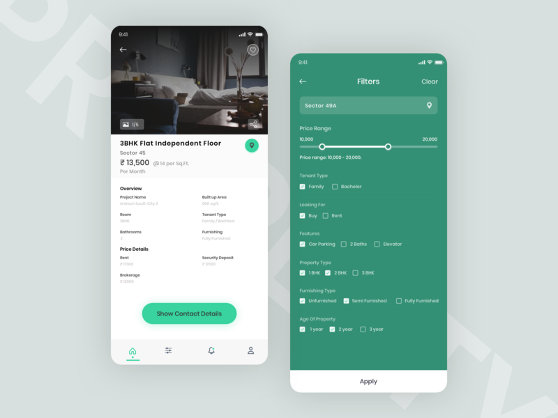 Property Details and Filter Screen property application colors search color ux desing ui