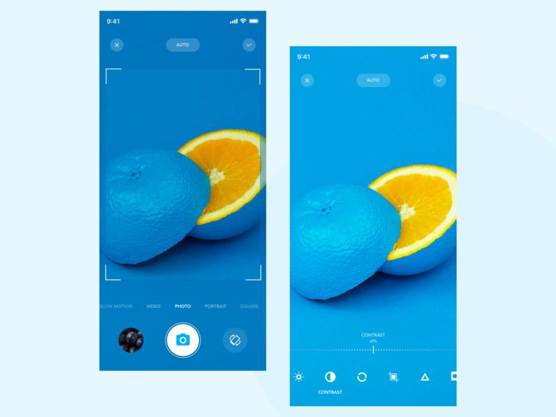 Photo Click and edit screen app design uxui edit contrast photo application colors search ux desing color ui