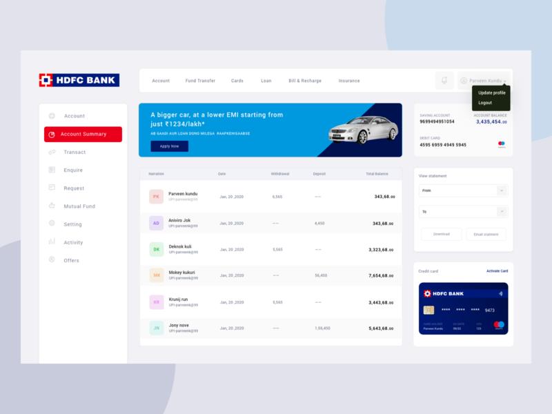 HDFC Bank User Screen branding ui desing app colors ui  ux search account userexperience ui design uiux