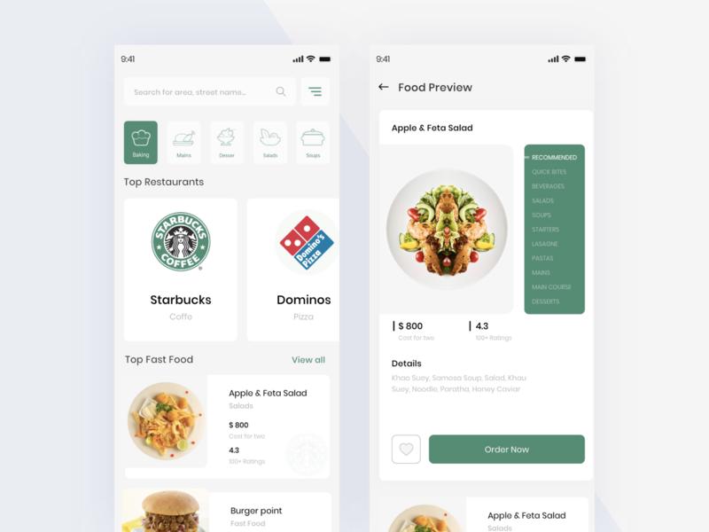 Food app order fastfood application design green color product search food app ui design food