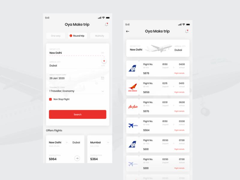 Flight Booking app details location selectdate red color liat time card app design flight