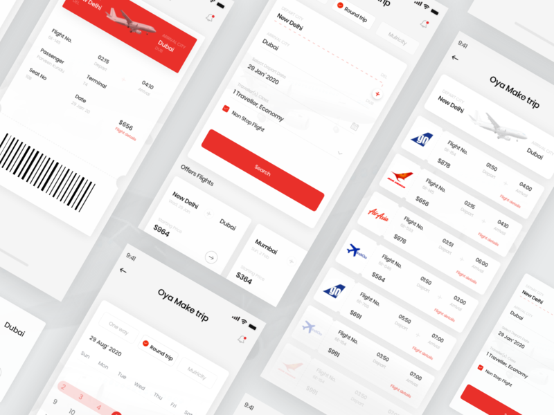 Flight Booking notification roundtrip passenger location calender red select list flight booking flight colors ux search desing color