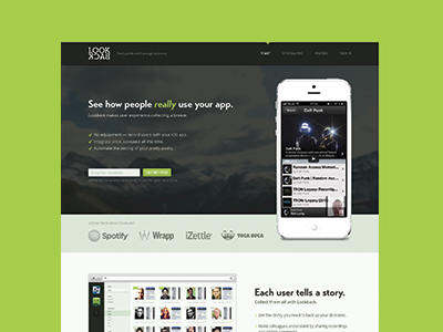 Lookback website iphone ui landing page transat bold