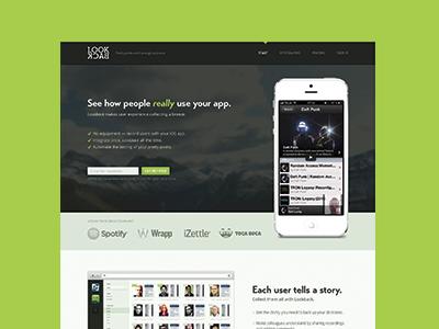 Lookback website iphone ui landing page transat bold