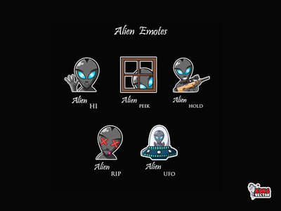 Alien Twitch Emotes hi peek hold subbadges character creative idea fun funny designer alien graphicforstream streamers emoji customemote emoteart design emotes emote twitch twitchemote twitchemotes