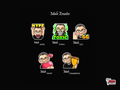 Male Twitch Emotes gg toxic hype emoji set subbadges happy look fun funny cartoon designer graphicforstream streamers emoji customemote emoteart design emotes emote twitc twitchemote twitchemotes