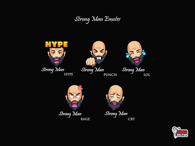 Strong Man Twitch Emotes strong twitchemotes twitchemote twitch graphicforstream streamers illustration emotes emoteart emote emoji design customemotes customemote creative idea cry rage lol punch hype