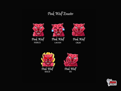Pink Wolf Twitch Emotes hallo laughing okay rage laugh cartoon cute fun funny creative idea graphicforstream designs streamers graphicforstream emoji customemote emoteart design emotes emote twitch twitchemote twitchemotes