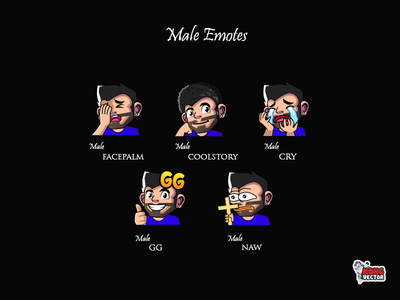 Male Twitch Emotes twitchstreamers twitchemotes twitchemote streamers graphicforstream sticker designer design emoteart emotes emote emoji customemotes customemote creativity naw gg cry coolstory facepalm