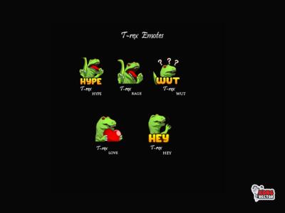 T-rex Twitch Emotes twitch logo t-rex hey love wut rage hype creative idea emoteart designer graphicforstream streamers emoji customemote design emotes emote twitch twitchemote twitchemotes