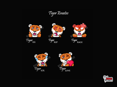 Tiger Twitch Emotes animal amazing creative streamers graphicforstreamer tiger rip love lol gg rage illustration design cartoon twitchemotes twitchemote emoji emote emotes twitch