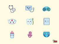 Medical Tools And Baby Gear Icon Collection