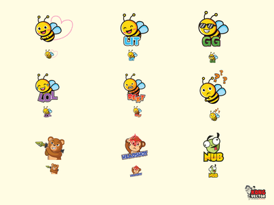 Animals Cute Emotes bee frog headshot funny cute emoji emotes rekt lit lol bear monkey