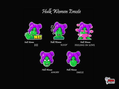 Hulk Women love happy look cute adorable daily fun drawing creative idea funny green smile angry feeling in love sleep hig comic cartoon women hulk twitch emote twitch emotes