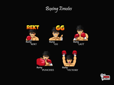 Boxing Twitch Emotes twitchstreamer streamers cartoon graphicforstream sticker emoteart customemote twitchemotes twitchemote twitch emoji emotes emote design victory punches last gg rekt