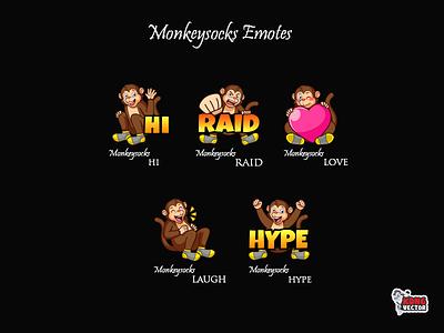 Monkeysocks Twitch Emotes design twitchstreamer twitchemote twitch streamer sticker graphicforstream emoteart emotes emote emoji customemote creative design cartoon hype laugh love raid hi