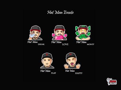 Hat Man Twitch Emote designs creativity happy flat money love drink man hat graphicforstream streamers emoji sticker customemote emoteart design emotes twitch emote twitchemote twitchemotes