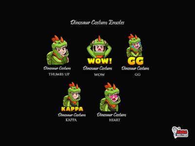 Dinosaur Costum Twitch Emotes